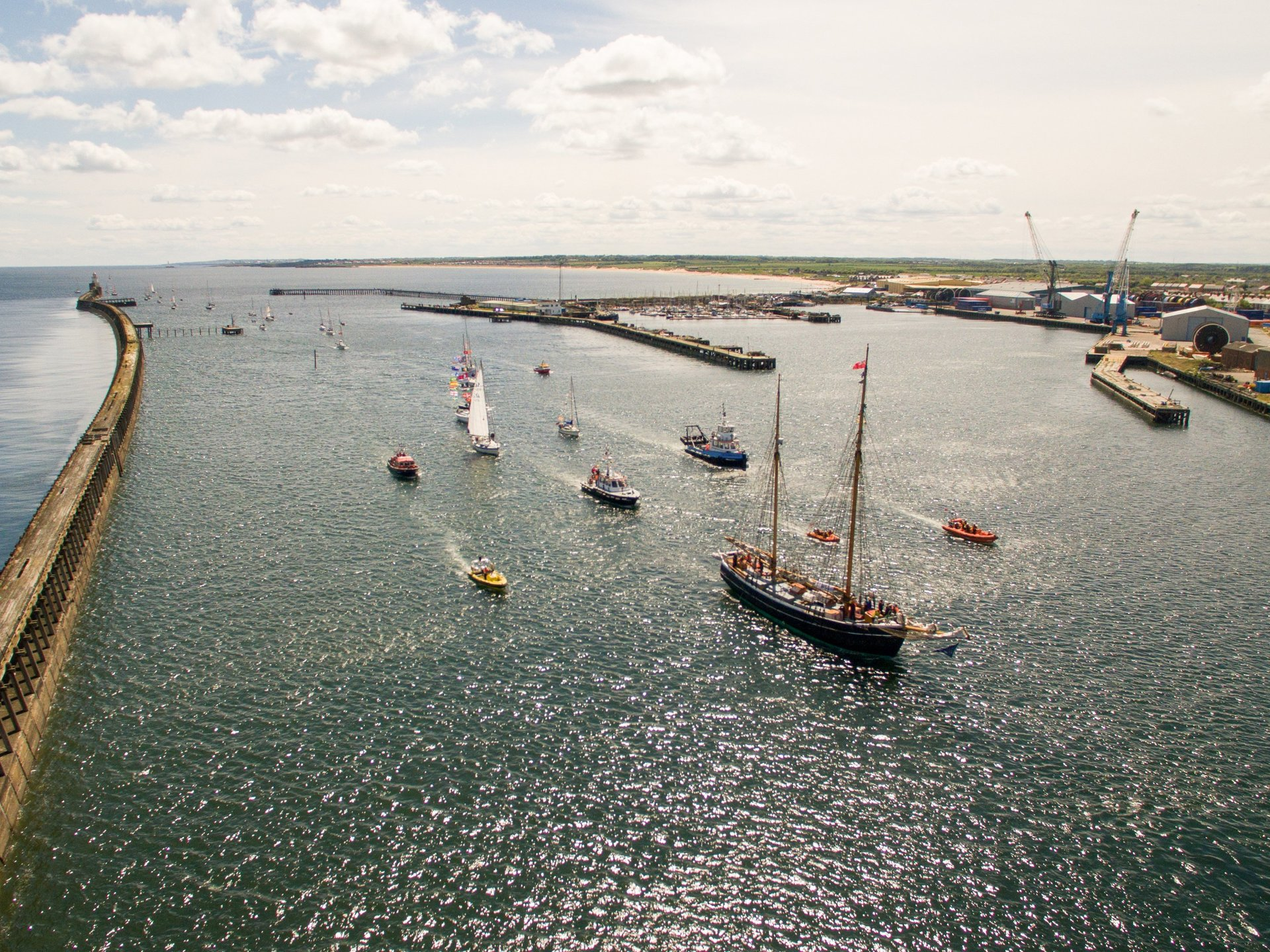Aerial photography of tall ships coming in to blyth